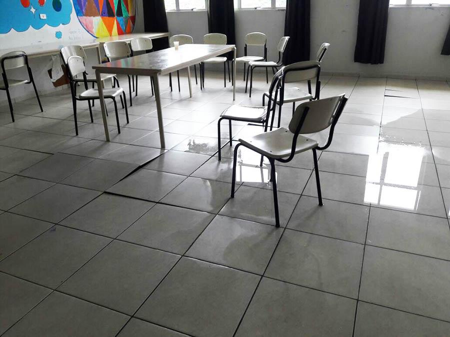 Estragos após as chuvas na escola Herondina impossibilitam início de ano letivo