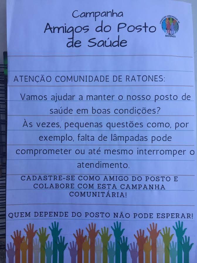 Ratones reúne comunidade para ajudar na manutenção do centro de saúde