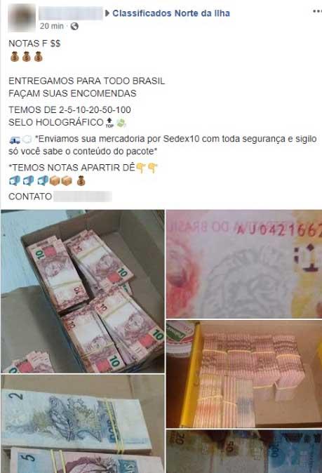 Anúncio para a venda de dinheiro falso aparece em grupo no Norte da Ilha